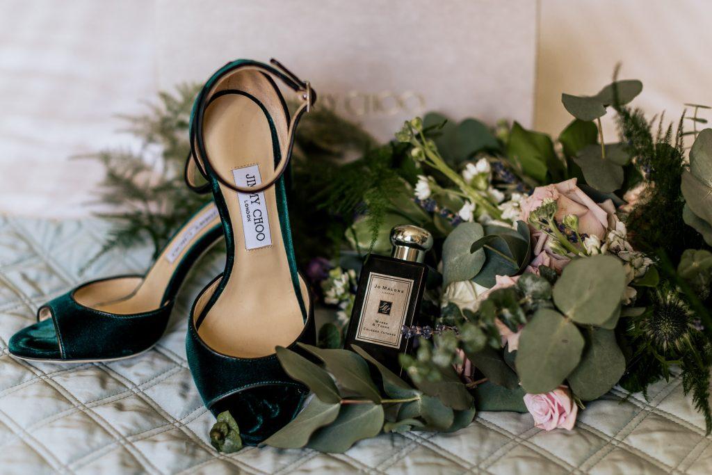 Jimmy choo green shoes bouquet Jo Malone perfume