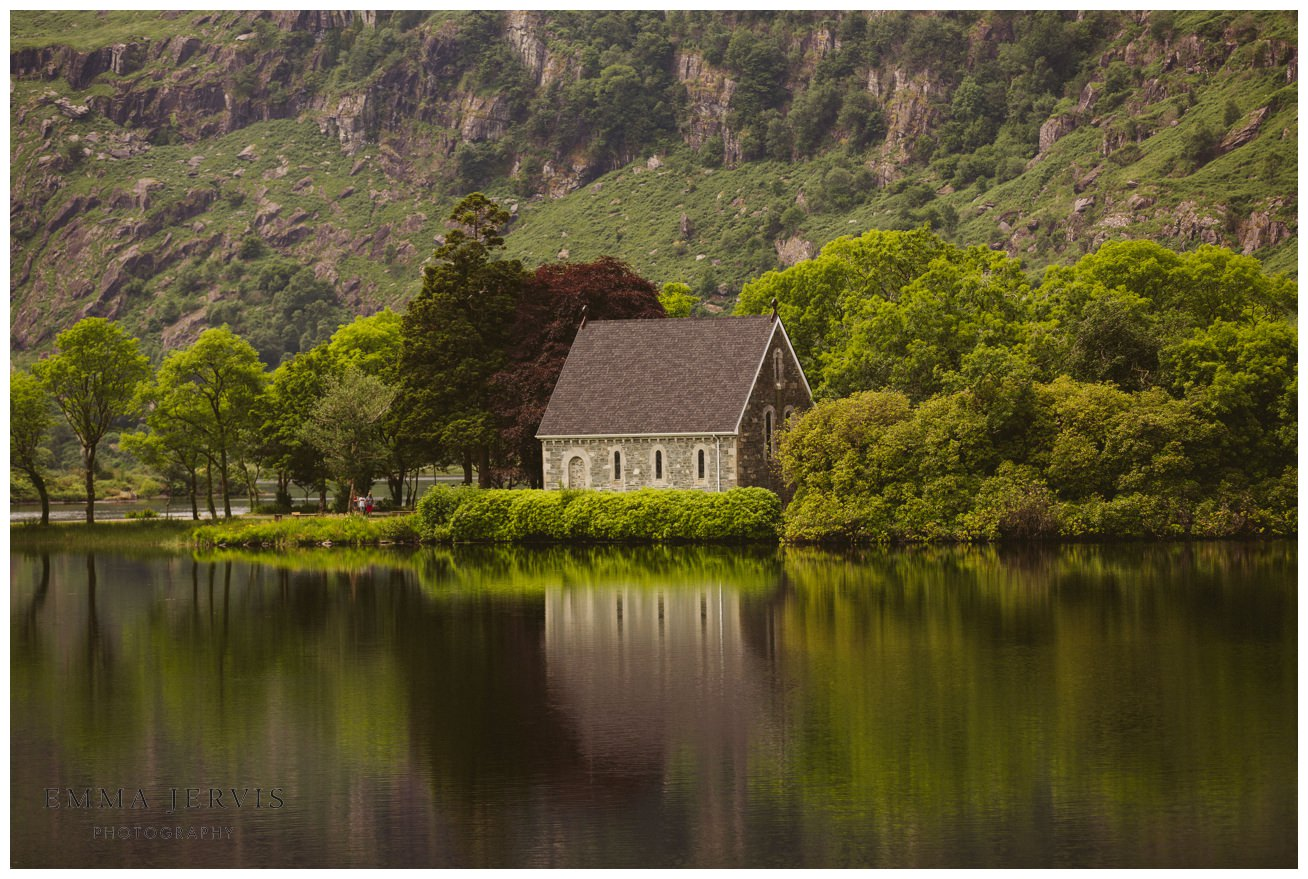 Gougane Barra church lake wedding