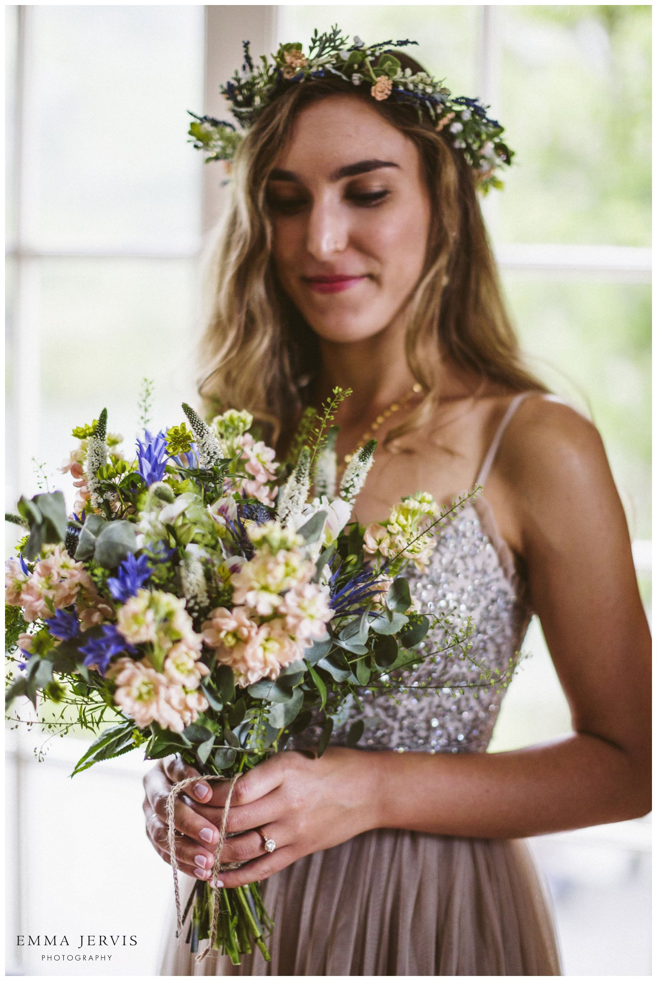 Gougane Barra church wedding bride flower crown