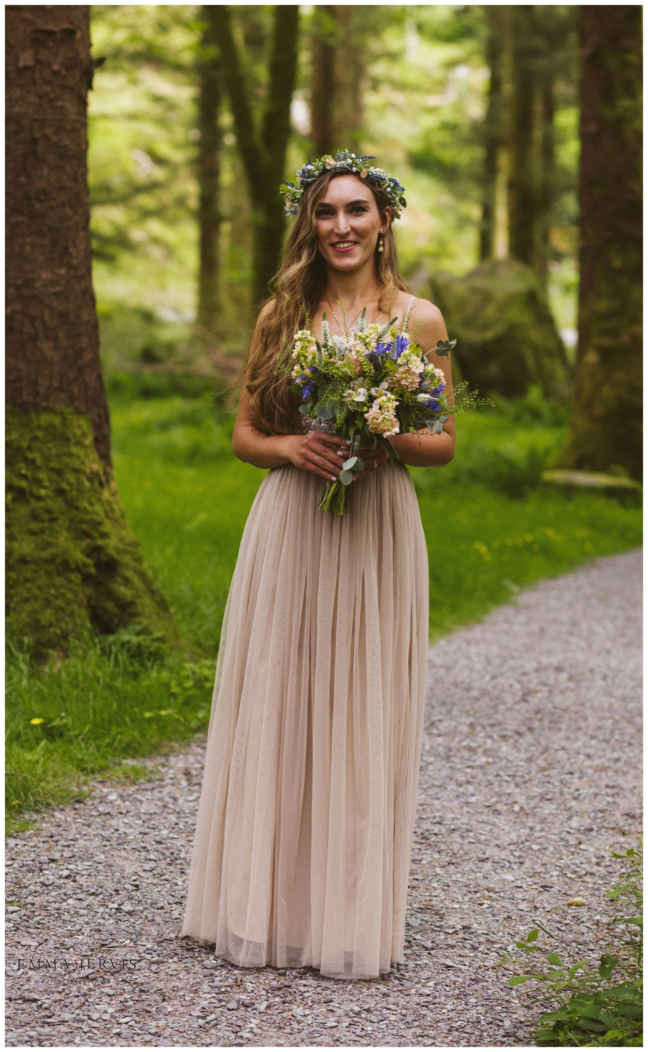 Gougane Barra forest wedding first look bride