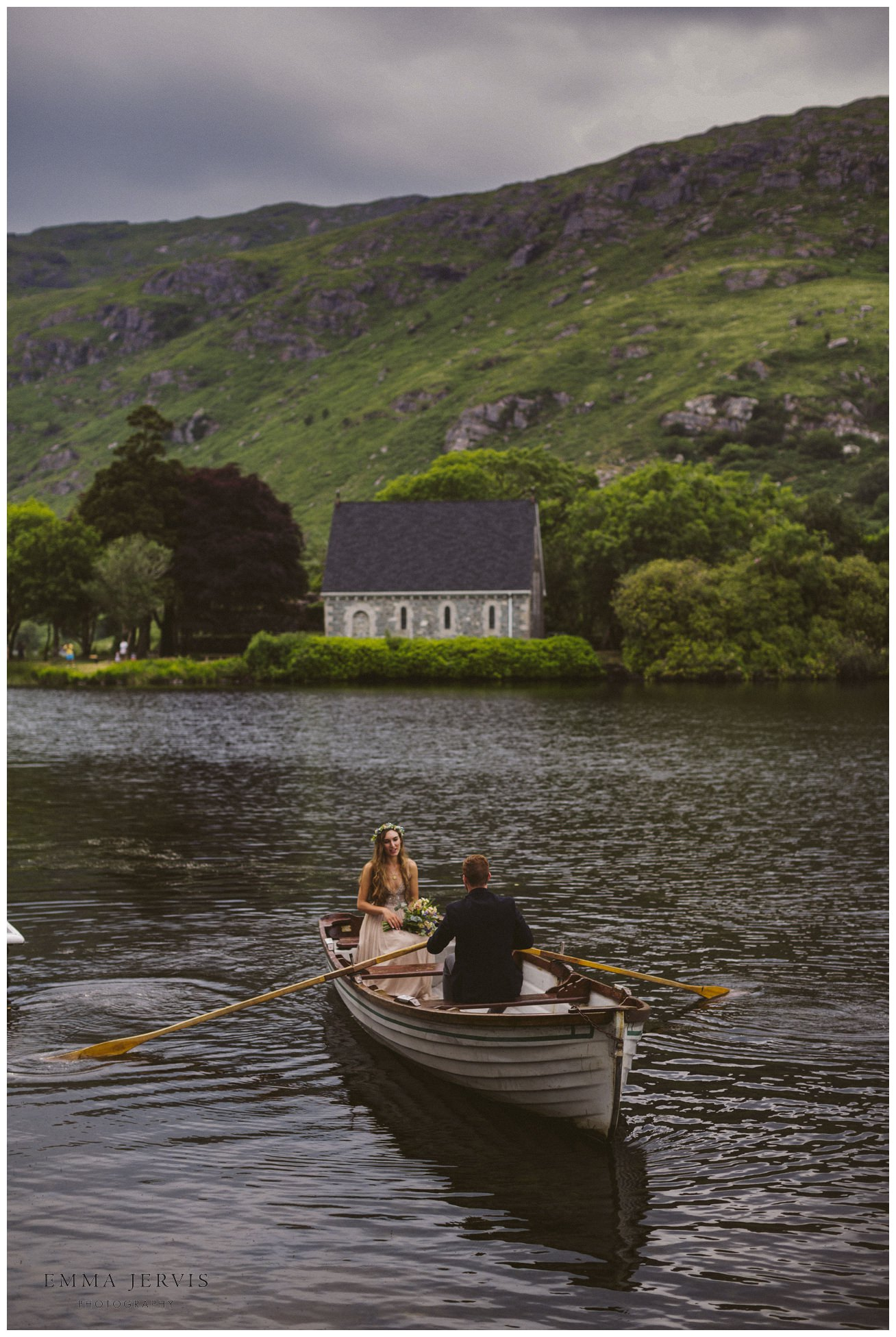 Gougane Barra church wedding forest rowboat