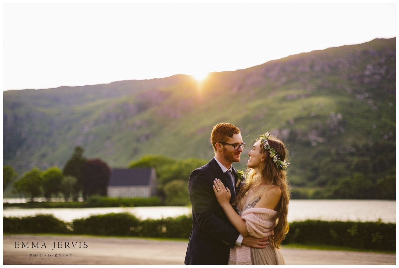 Gougane Barra hotel wedding sunset couple