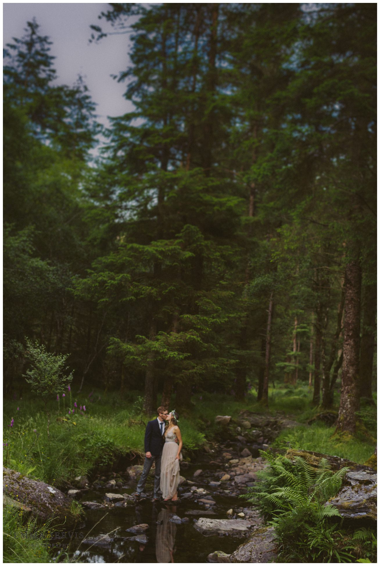 Gougane Barra wedding forest couple