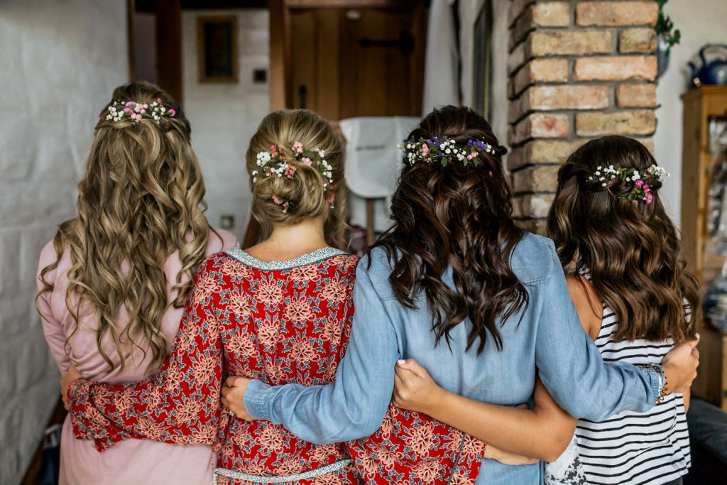 West cork wedding bride and bridesmaids hair