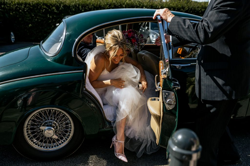 West cork wedding venue Drishane house bride car