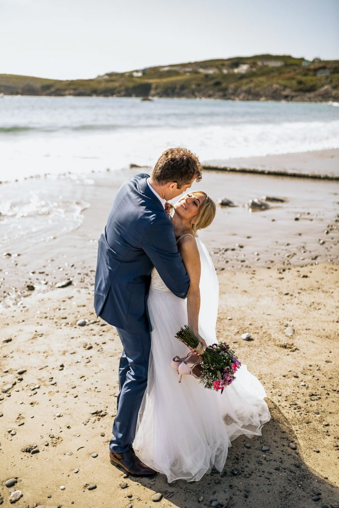 west cork wedding couple on beach