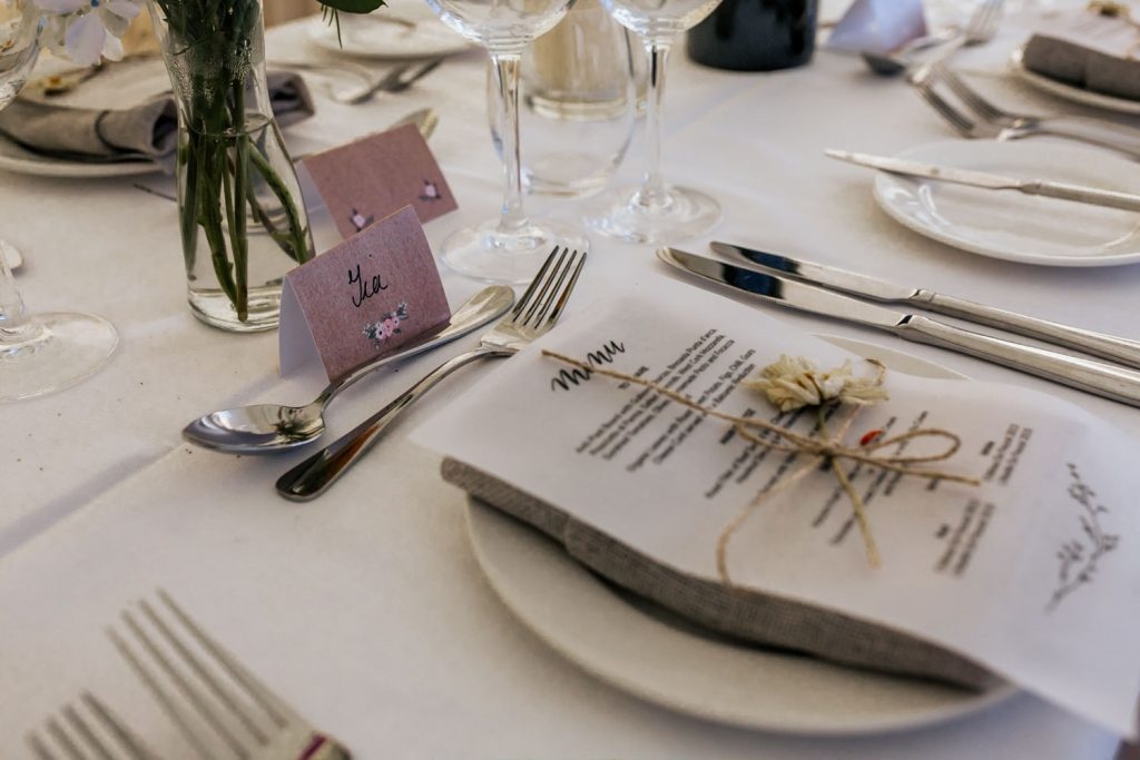West cork wedding venue table setting