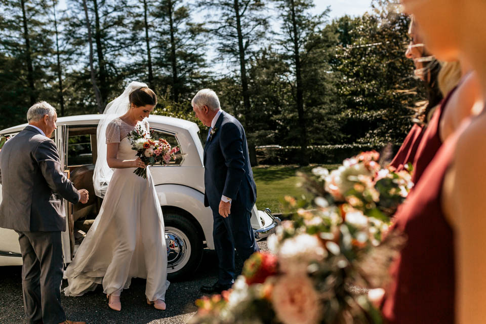 west cork wedding bride arriving car