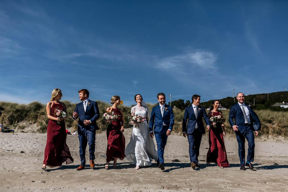 Inchydoney beach wedding bride bridesmaids groomsmen