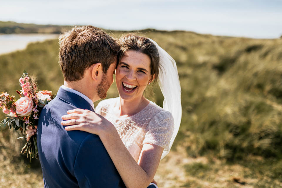 Inchydoney beach wedding portrait bride groom