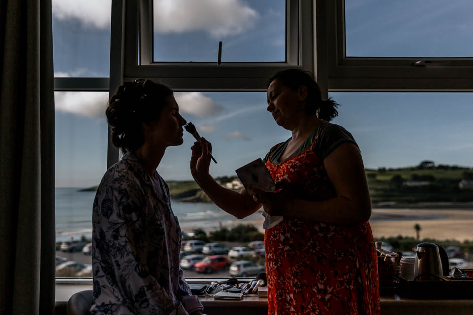 inchydoney lodge and spa wedding make-up bride
