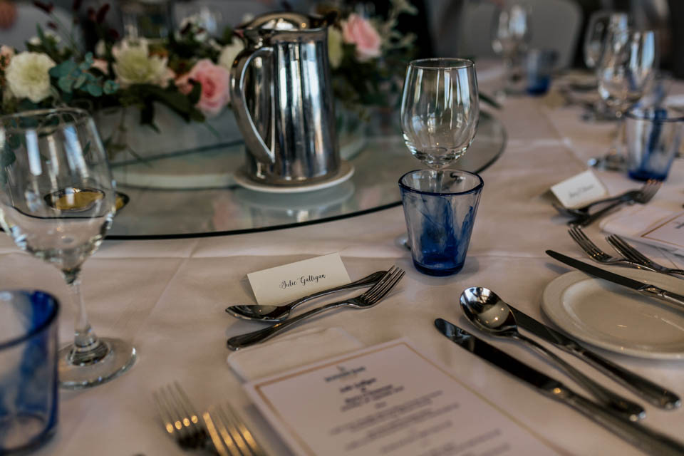 Inchydoney lodge and spa wedding table setting