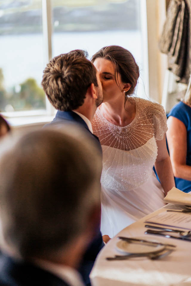 Inchydoney lodge and spa wedding couple kissing