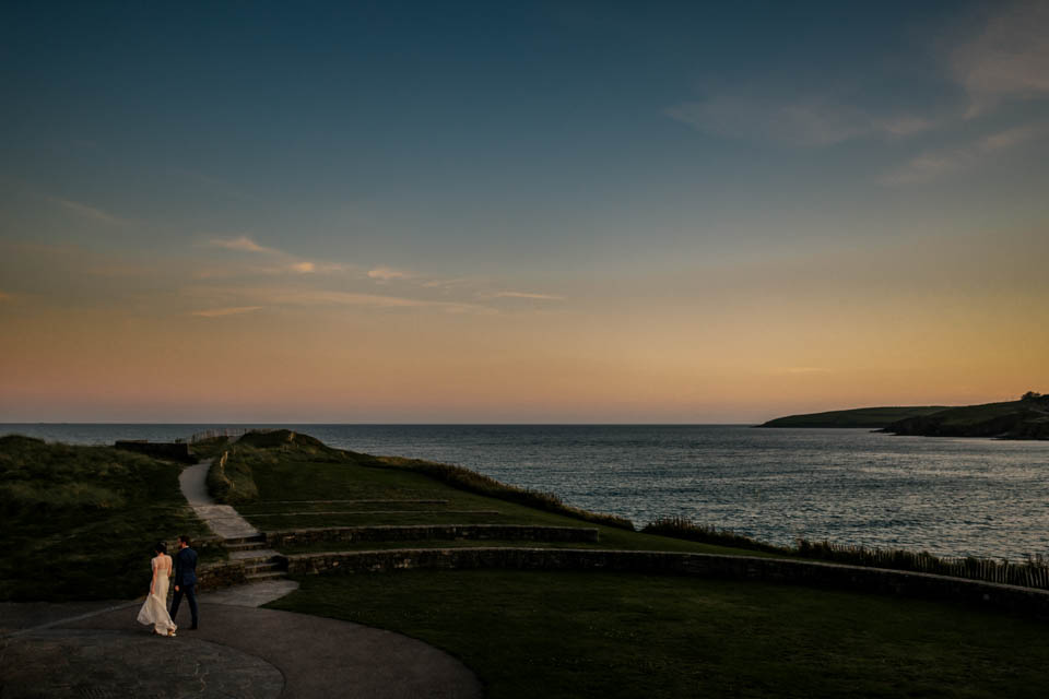 Inchydoney lodge and spa wedding sunset couple