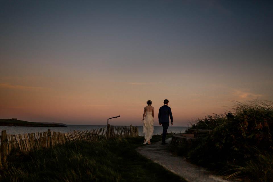 Bride and groom Inchydoney beach wedding