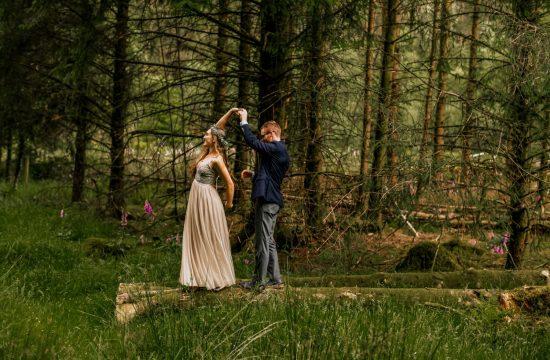 Gougane barra wedding couple dancing in forest