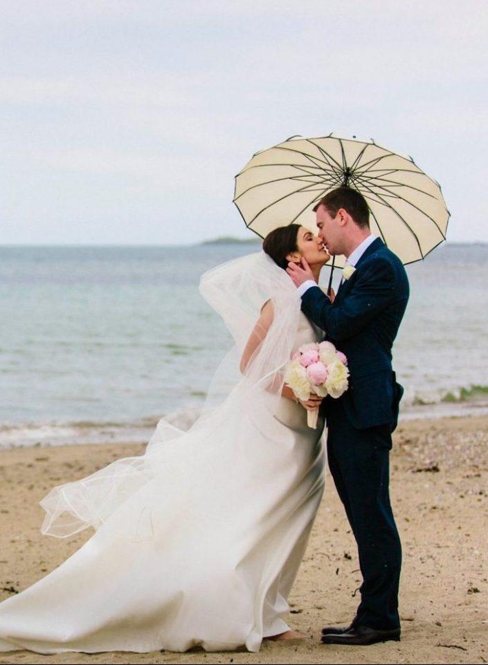 Garryvoe wedding couple on beach