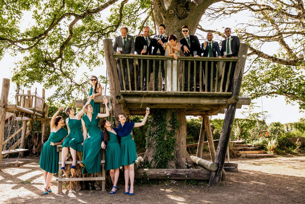 Ballinacurra house bridal party in tree house