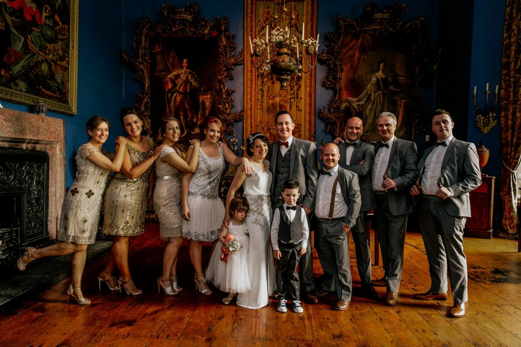 Bantry house bridal party ornate drawing room