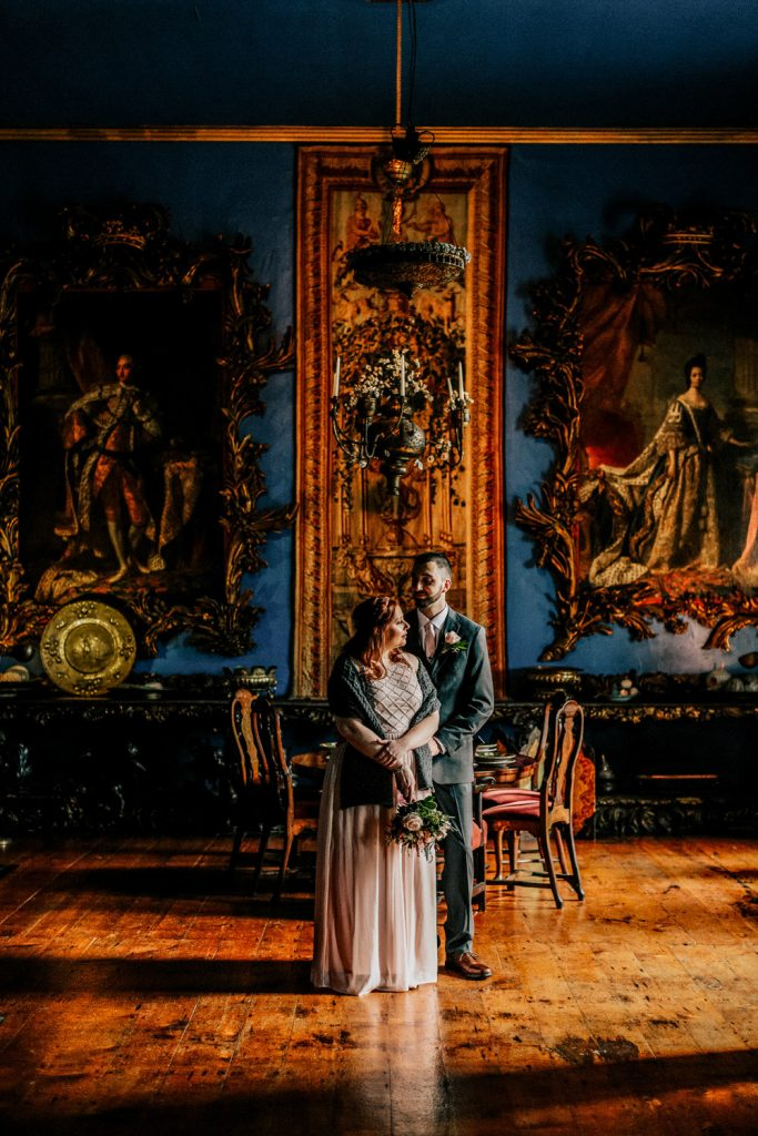 Eloped couple at Bantry house drawing room