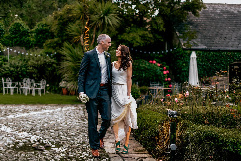 Wedding couple walking Blairscove house