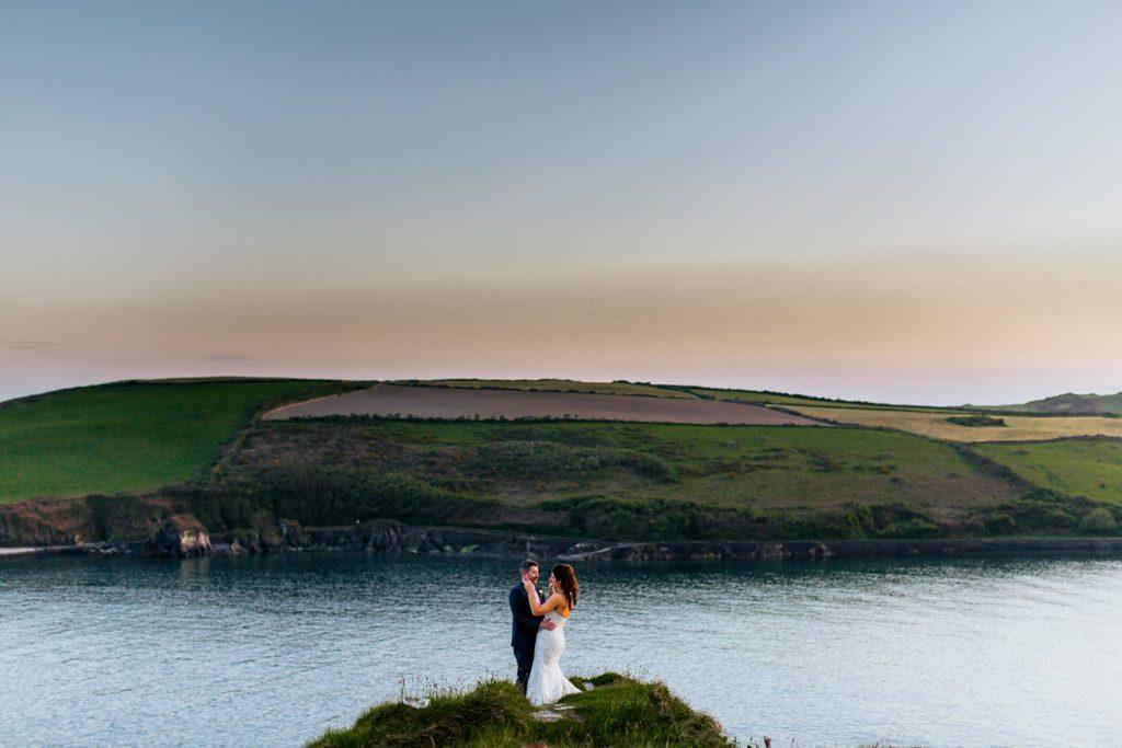 celtic ross wedding couple over ocean