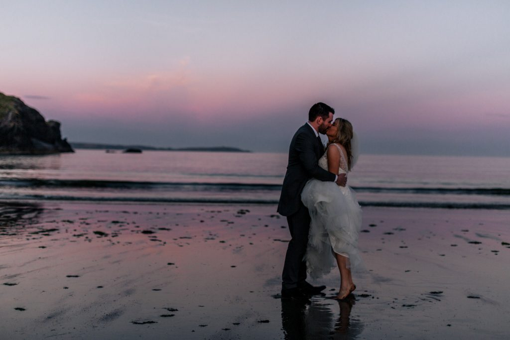 celtic ross wedding couple sunset on beach