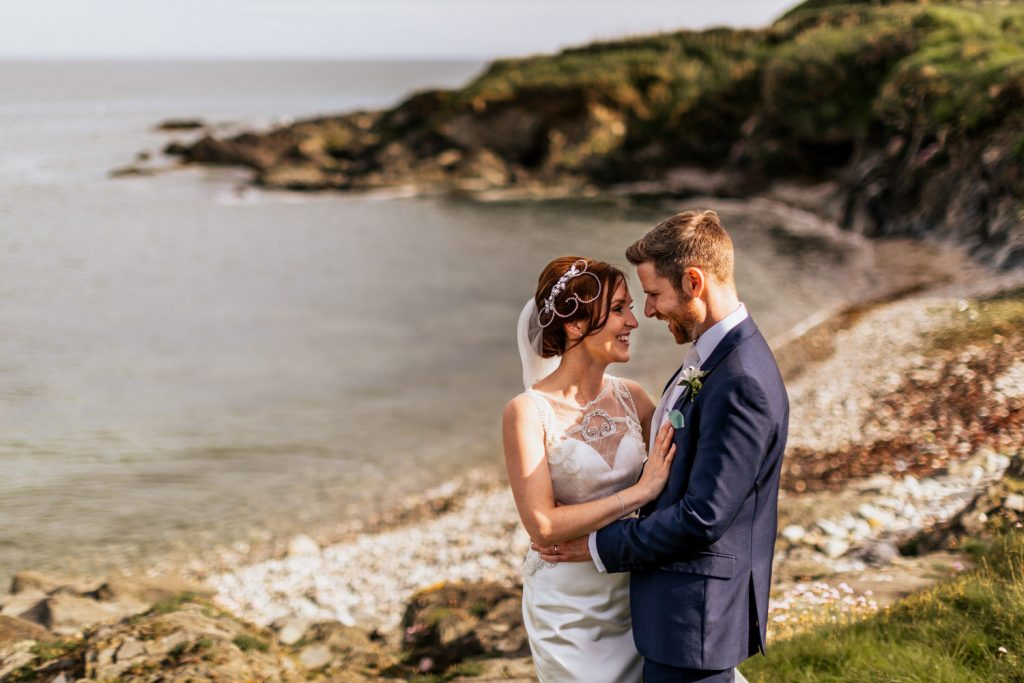 wedding couple at dunmore house cove