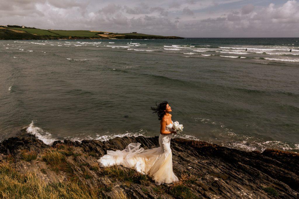 inchydoney lodge beach cliff bride