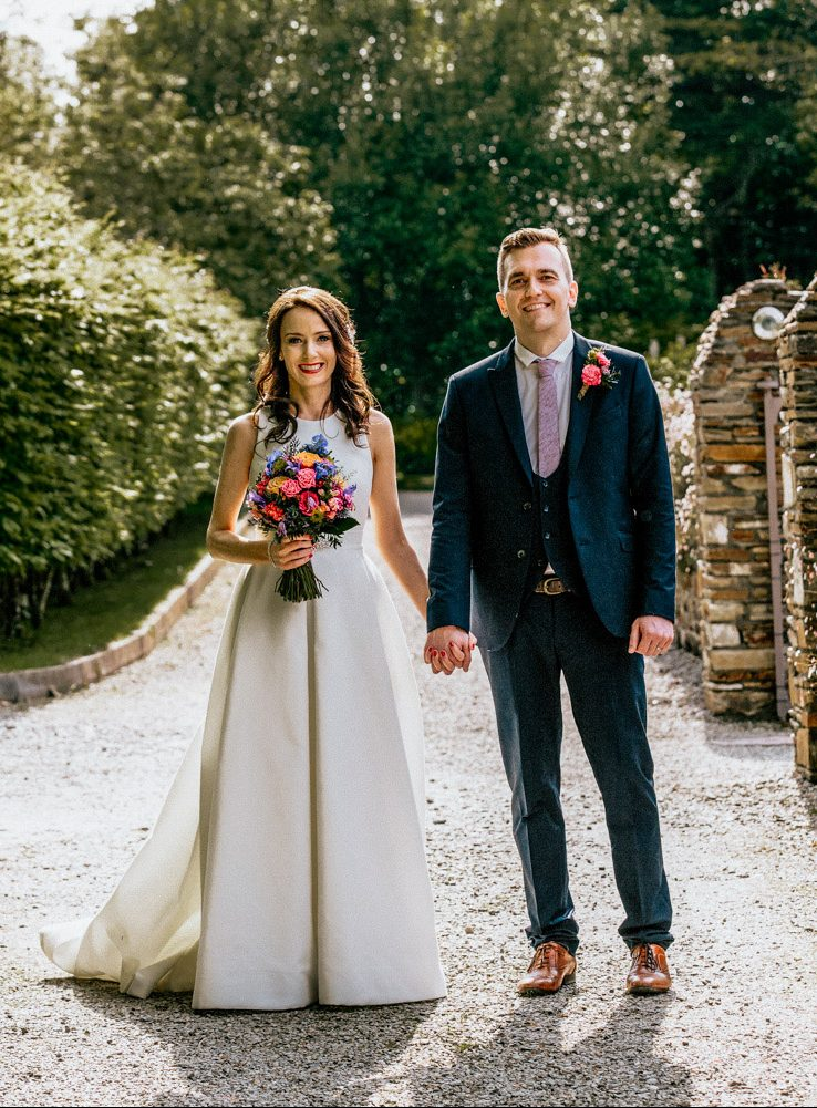 Inish Beg walled garden wedding couple