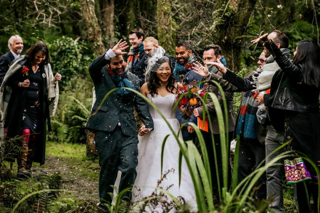 Inish Beg Estate wedding couple confetti exit
