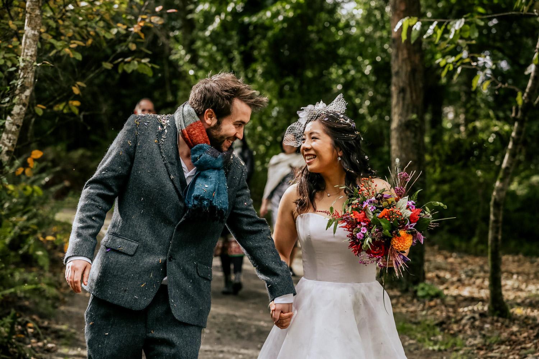 Inish Beg Estate woods wedding couple