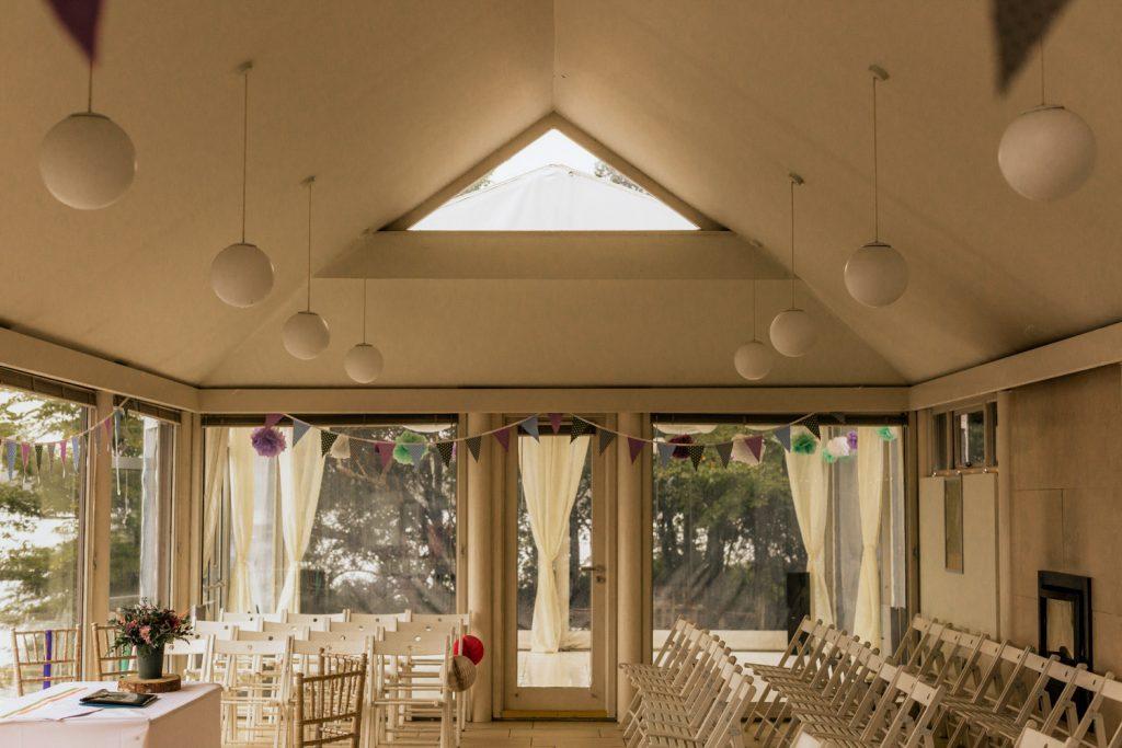 Inish Beg estate boathouse wedding setup