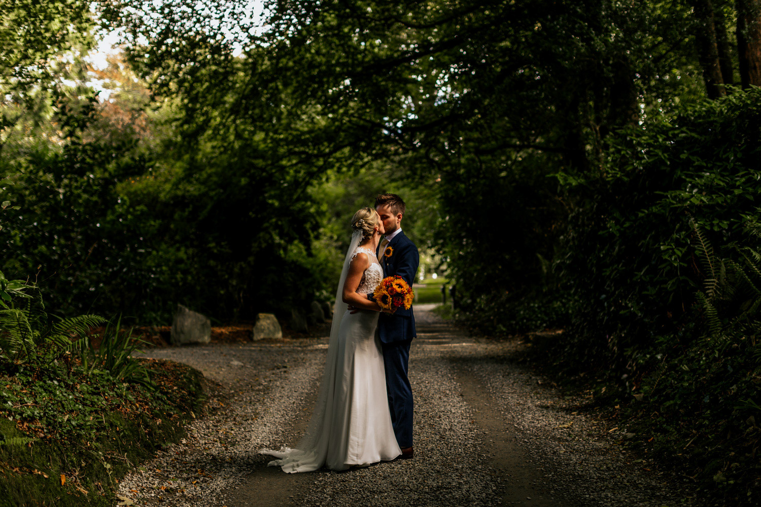 Inish beg estate woods wedding couple