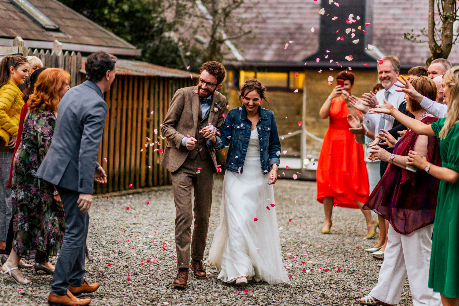 Inish beg estate wedding confetti exit
