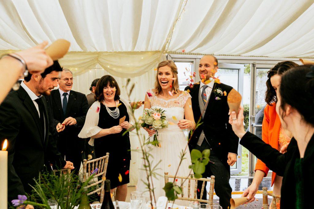 Liss Ard estate marquee wedding couple