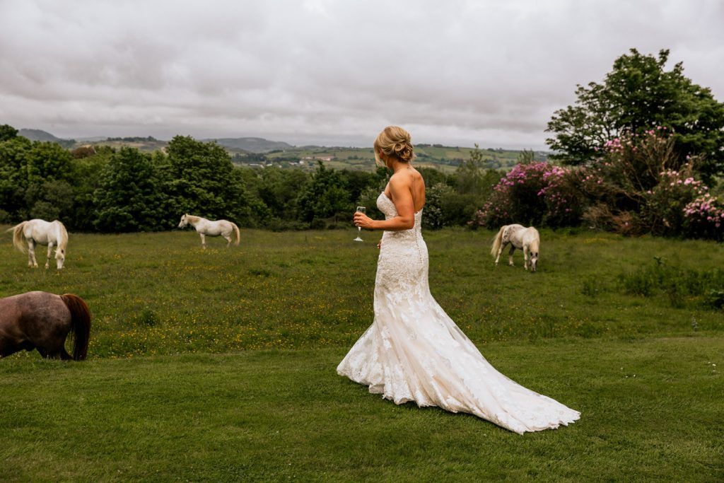 Liss Ard Estate bride horses