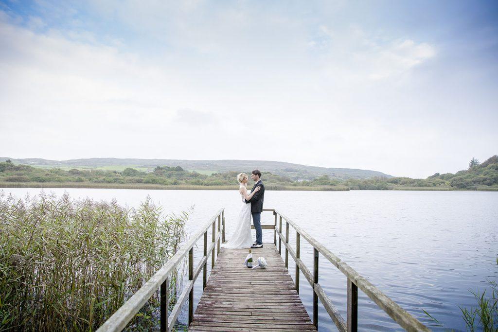 Liss Ard Estate wedding couple on pier