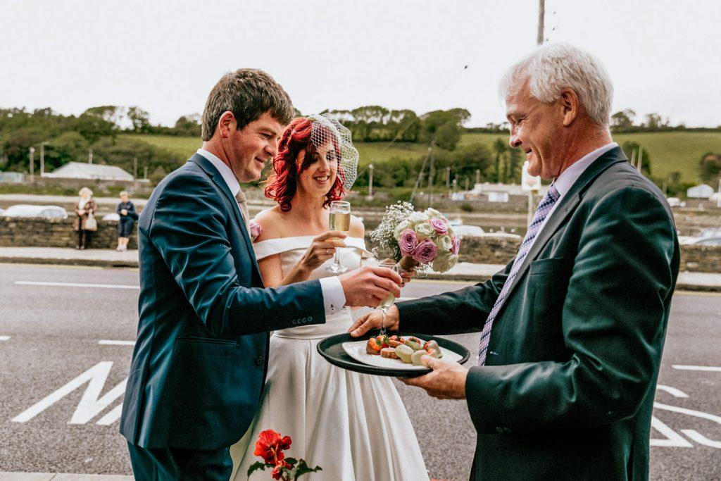 Maritime hotel welcoming wedding couple