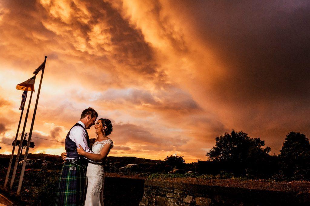 West Cork Hotel wedding couple sunset